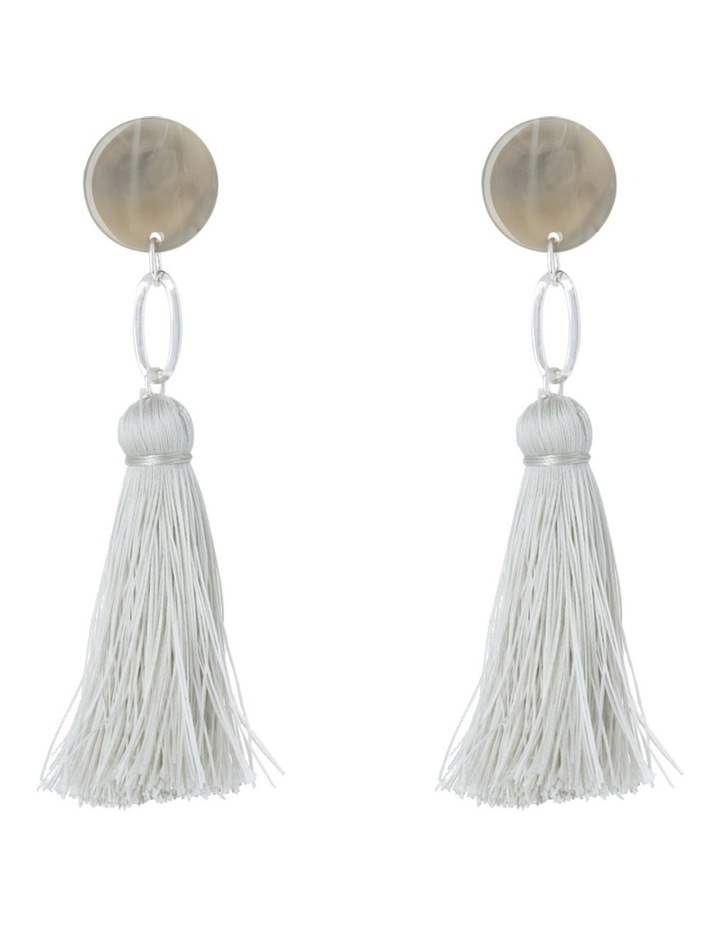 Clean Oval Cut Out Tassel Earring Grey image 1