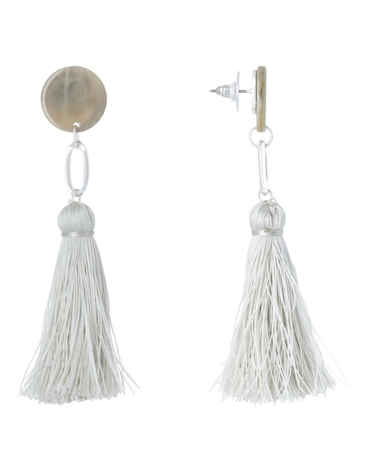 Clean Oval Cut Out Tassel Earring Grey image 2