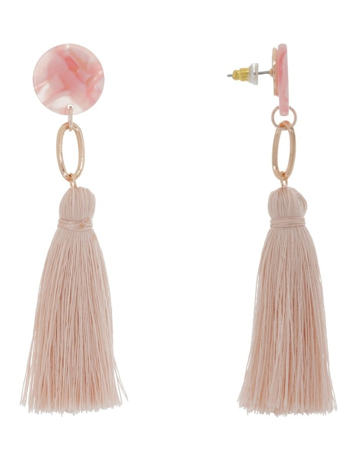 Clean Oval Cut Out Tassel Earring Light Pink image 2