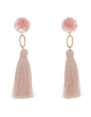 Basque - Clean Oval Cut Out Tassel Earring Light Pink