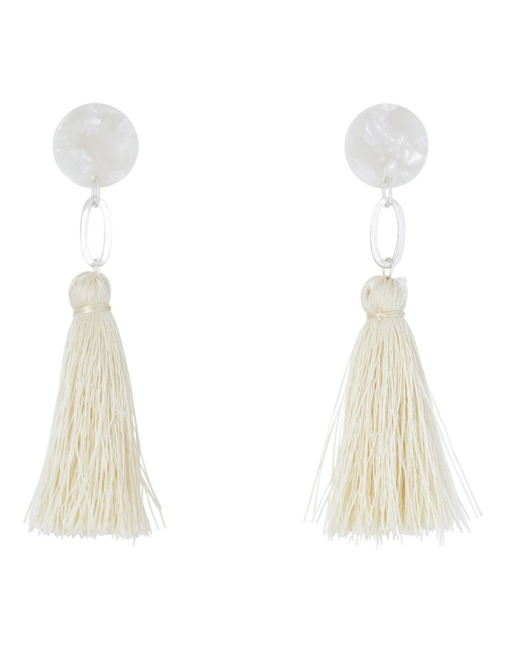 Clean Oval Cut Out Tassel Earring White image 1