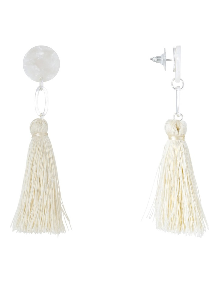 Clean Oval Cut Out Tassel Earring White image 2
