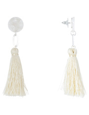 Basque - Clean Oval Cut Out Tassel Earring White