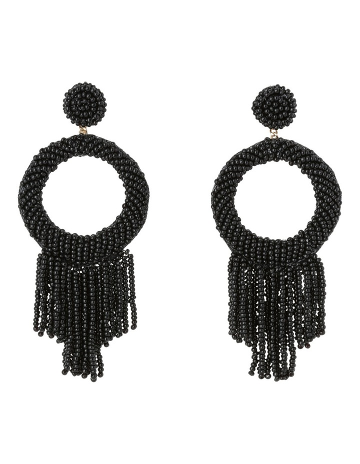 Statement Seed Bead Drop Earring Black image 1