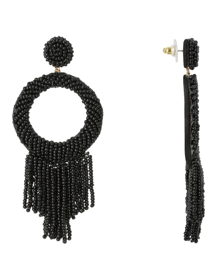 Statement Seed Bead Drop Earring Black image 2