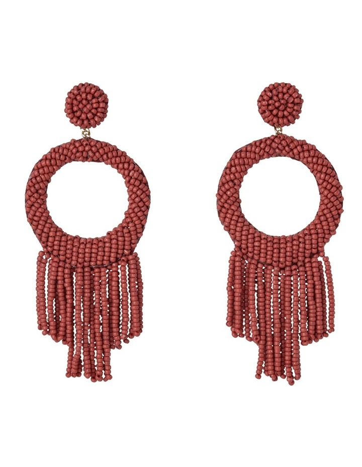 Statement Seed Bead Drop Earring Chilli Red image 1
