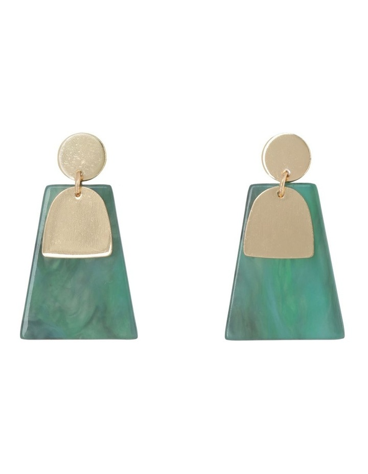 Abstract Drop Earring Gold/Green image 1