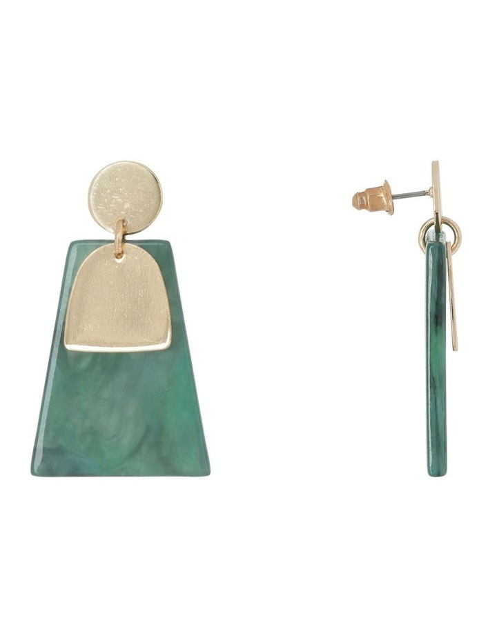 Abstract Drop Earring Gold/Green image 2