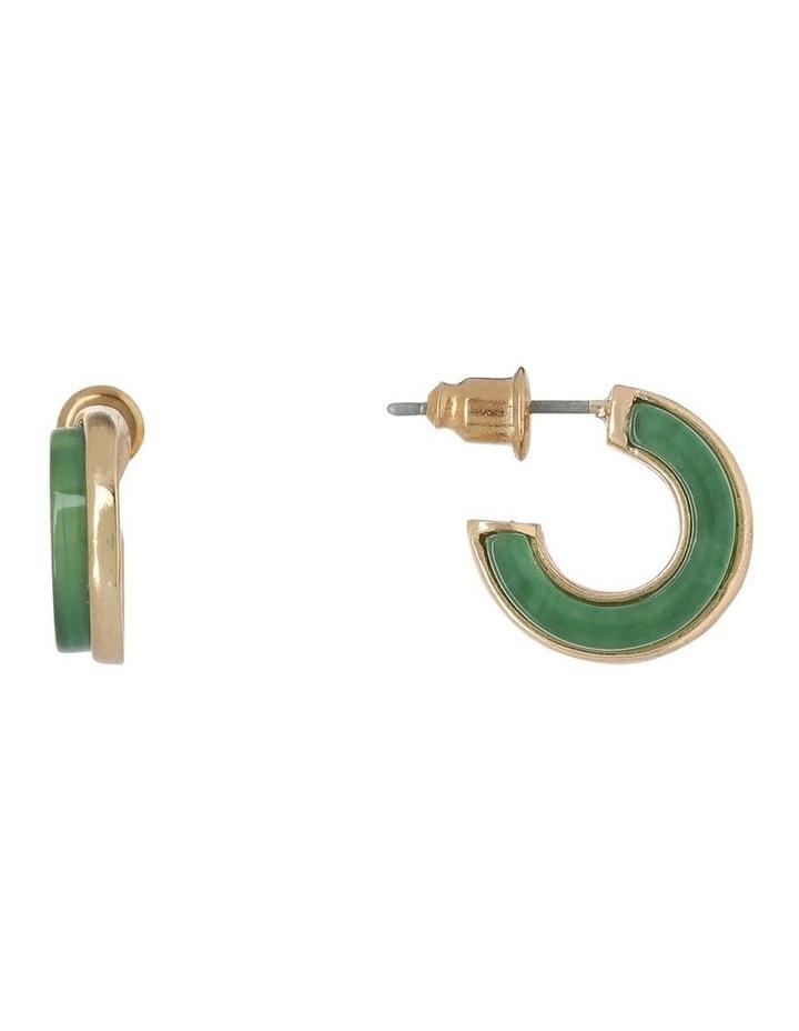 Mini Hoop Earring Gold/Green image 1