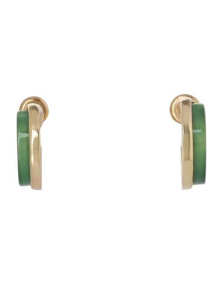 Mini Hoop Earring Gold/Green image 2