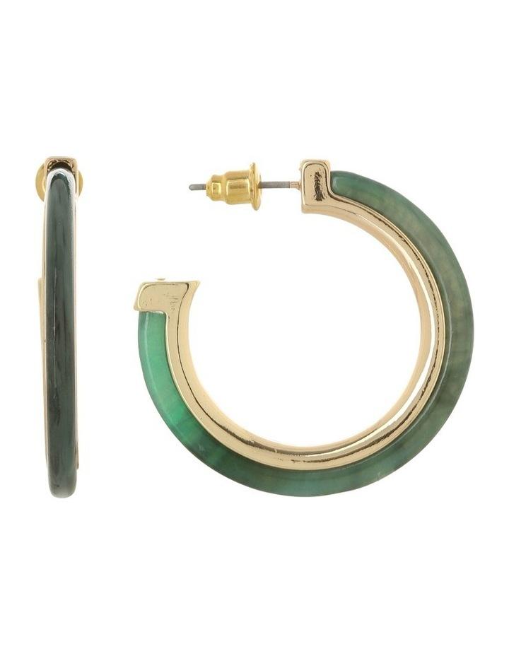 Metal Inlay Hoop Earring Green/Gold image 1