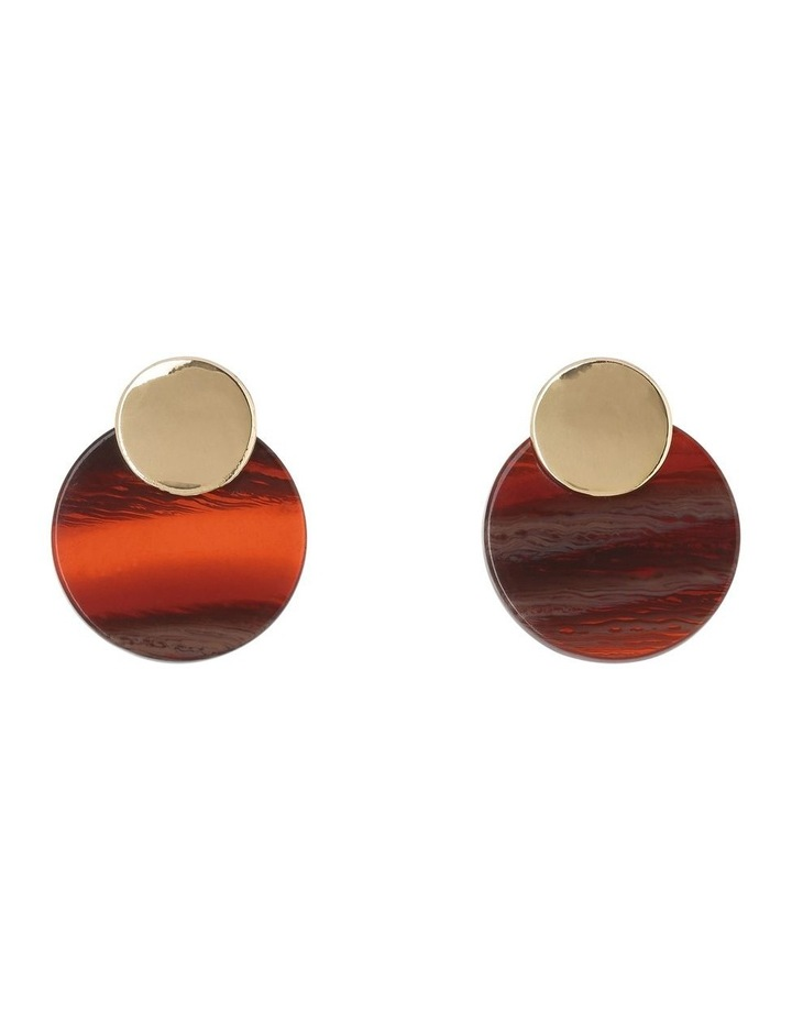 Mini Double Circle Earring Gold/Burgundy image 1