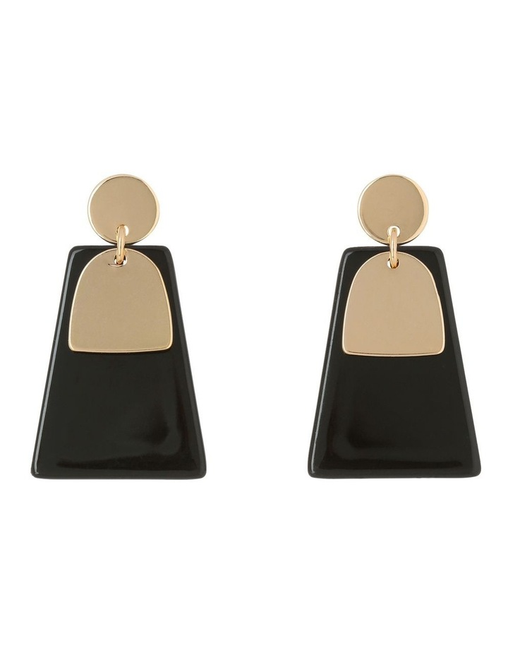 Abstract Drop Earring Gold/Black image 1