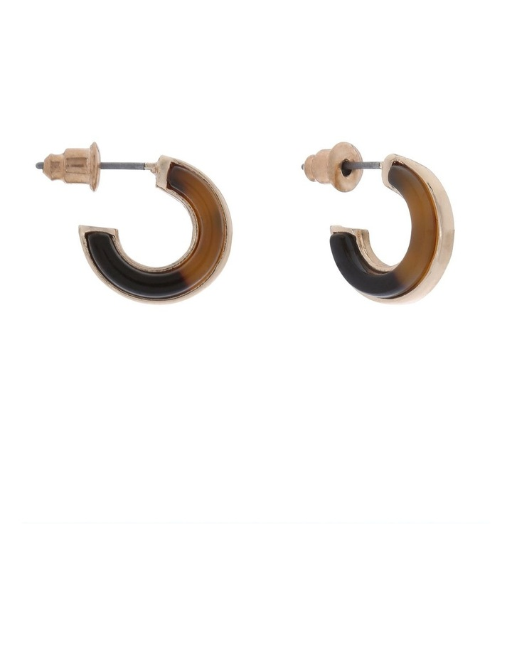 Mini Hoop Earring Gold/Tort image 2