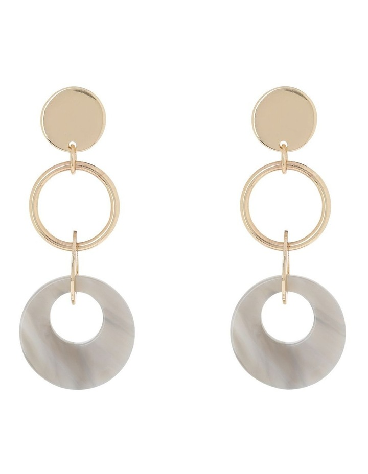 Circle Drop Earring Gold/Taupe image 1