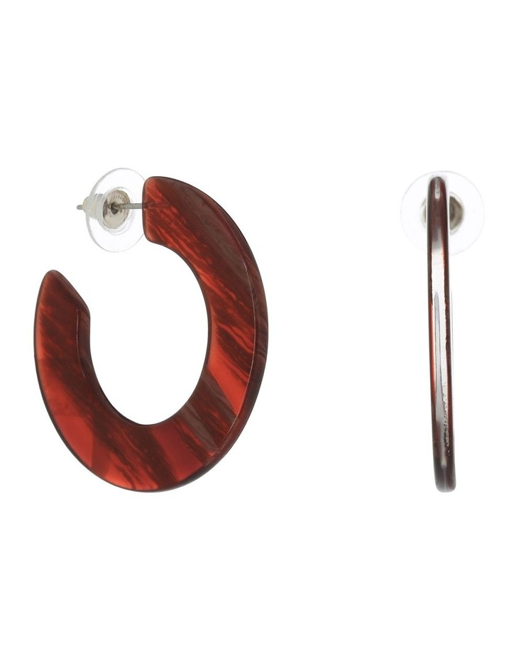 Flat Resin Hoop Earring Burgundy image 1