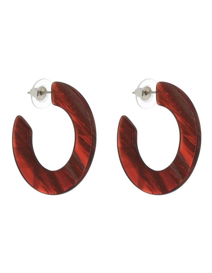 Flat Resin Hoop Earring Burgundy image 2