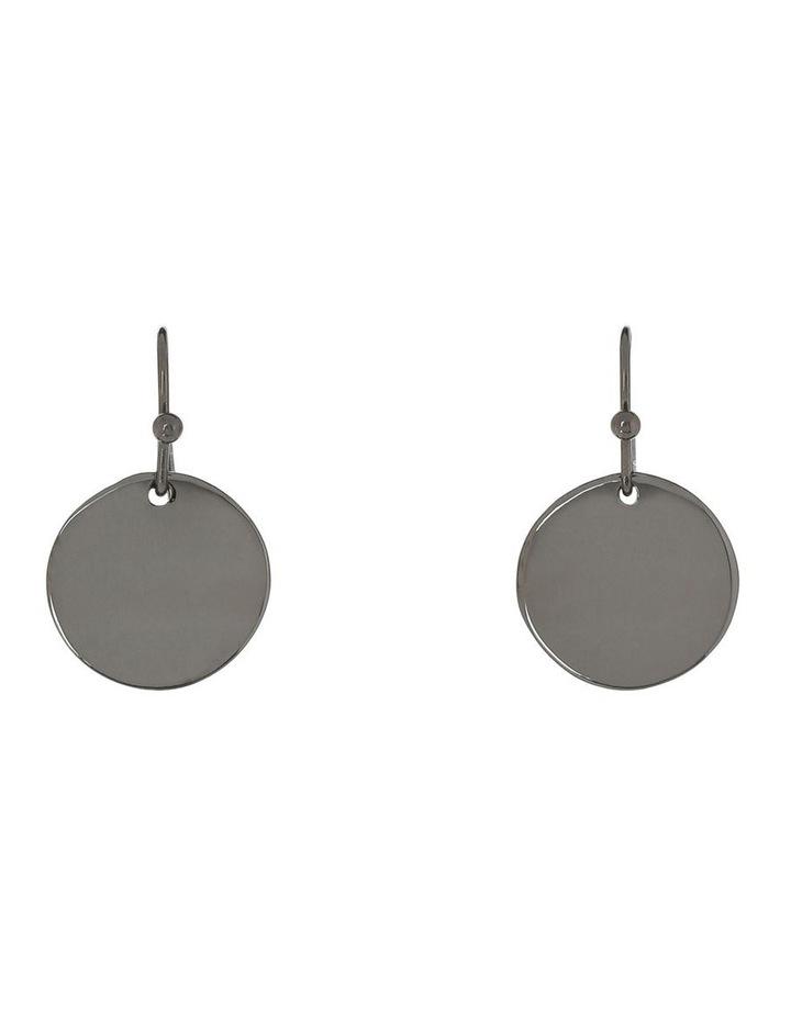 Wave Disc Hook Earring Black Nickel image 1