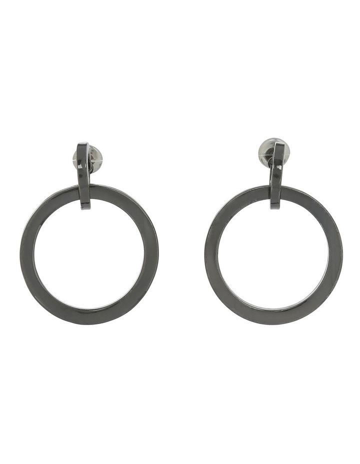 Double Circle Mini Earring Black Nickel image 1