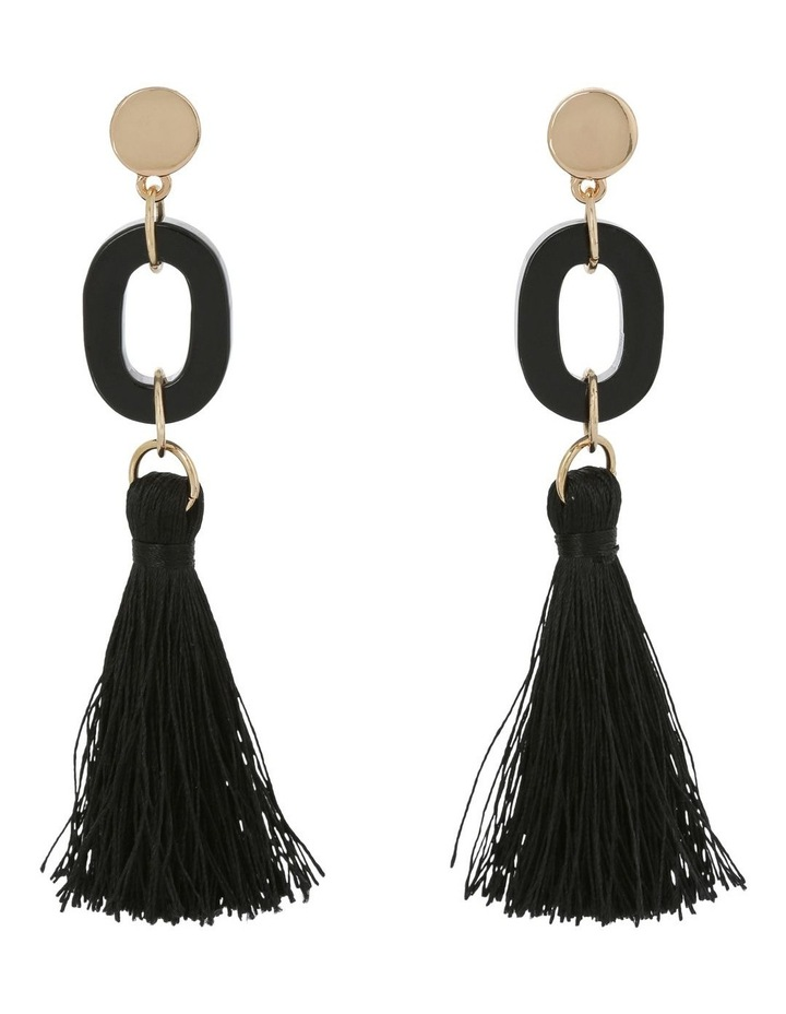 Tassel and Resin Earring Black image 1