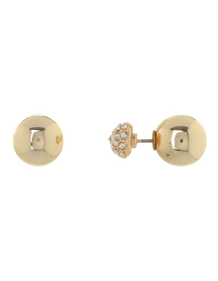 Back and Front Stud Earring Gold Pave image 2