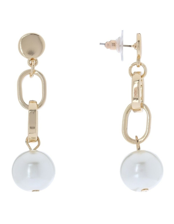 Pearl Drop Earring With Link Detail image 2