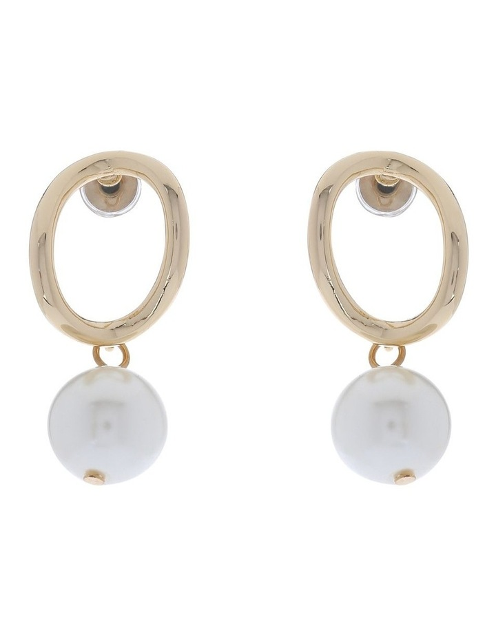 Oval Gold Drop Earring With Pearl image 1