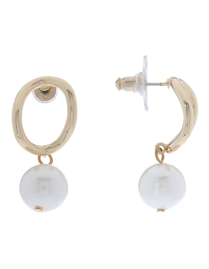 Oval Gold Drop Earring With Pearl image 2