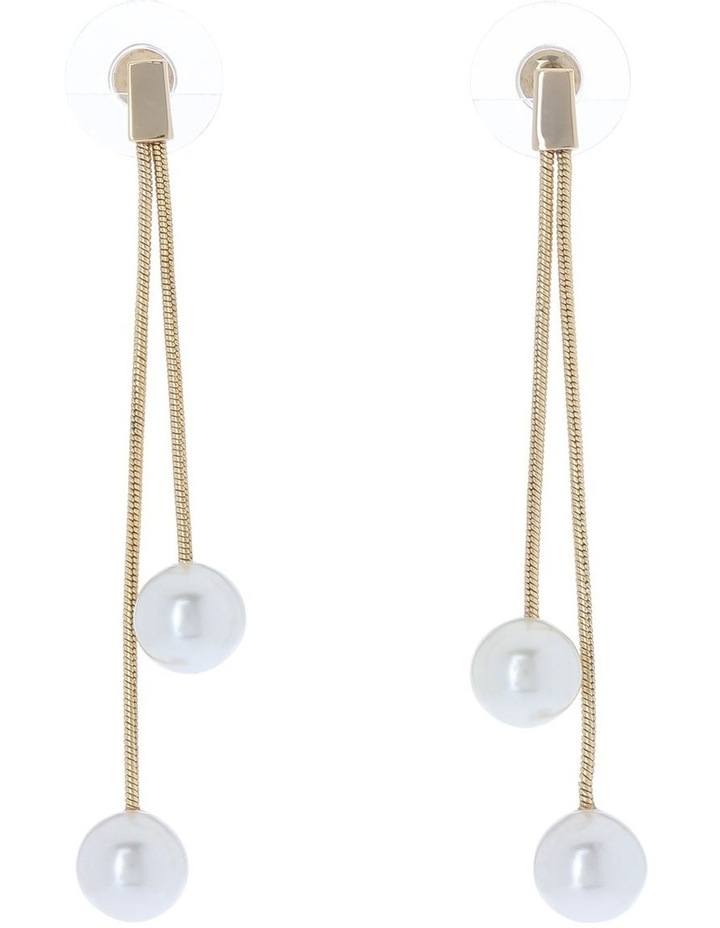 Winter Pearl Double Chain Drop Earring image 1