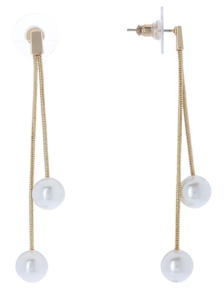 Winter Pearl Double Chain Drop Earring image 2