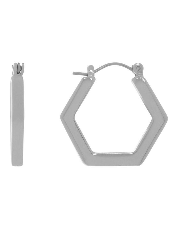 Hexagonal Hoop Stud Earring image 1