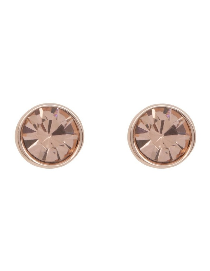 CZ Stud Earring - Rose Gold/Pink image 1