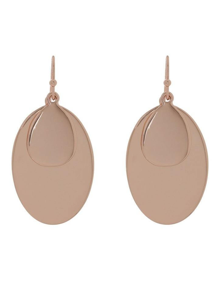 Double Oval Metal Hook Earring image 1