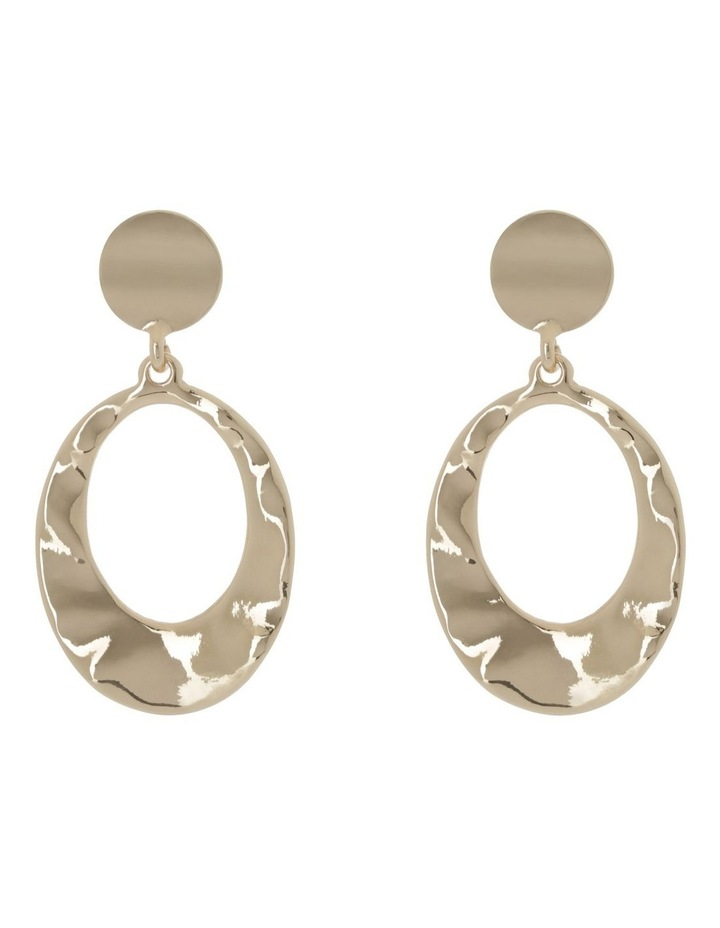 Cut Out Oval Beaten Drop Gold image 1