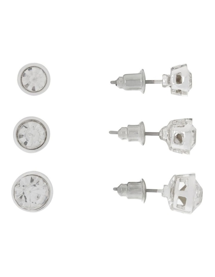 CZ Studs 3 Pack Silver image 1