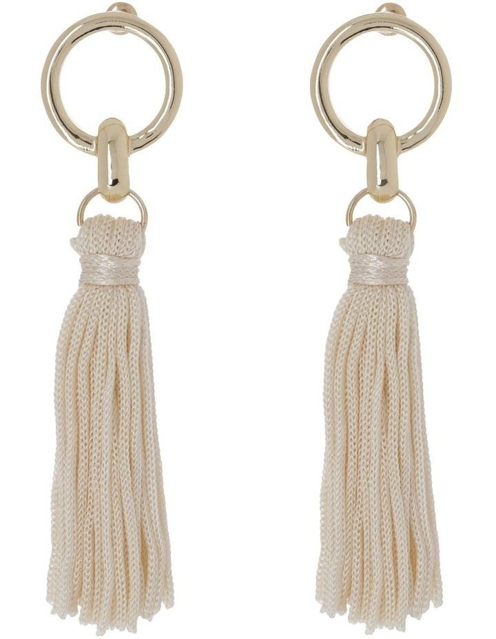 Tassel Earrings Gold Nude image 1