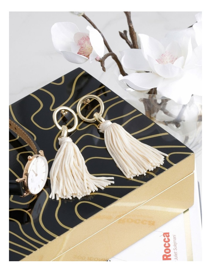 Tassel Earrings Gold Nude image 3
