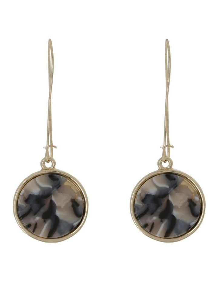 Marble Look Earring Gold Milky image 1
