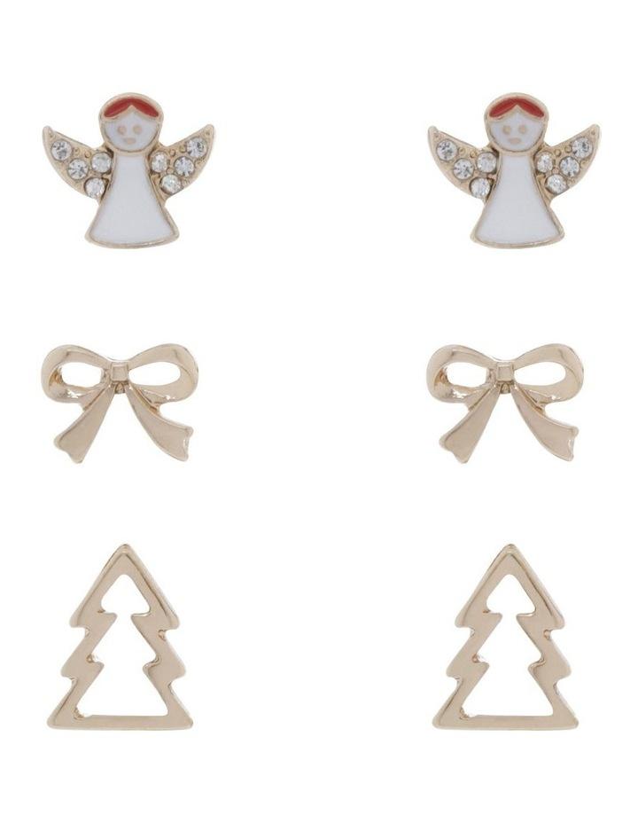 Gold Angel Stud Earrings 3 Pack image 1