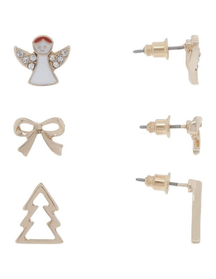 Gold Angel Stud Earrings 3 Pack image 2