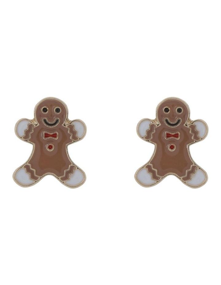 Gold Gingerbread Man Stud Earrings image 1