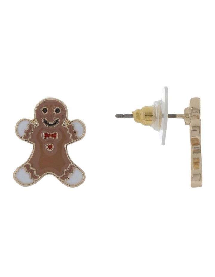 Gold Gingerbread Man Stud Earrings image 2
