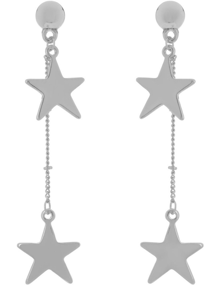 Silver Chain Star Earrings image 1
