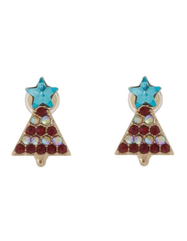 Red Christmas Tree Earrings image 1