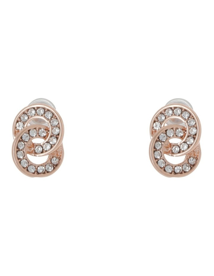 Double Circle Pave Stud Earring Gold image 1