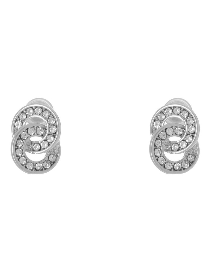 Double Circle Pave Stud Earring Silver image 1