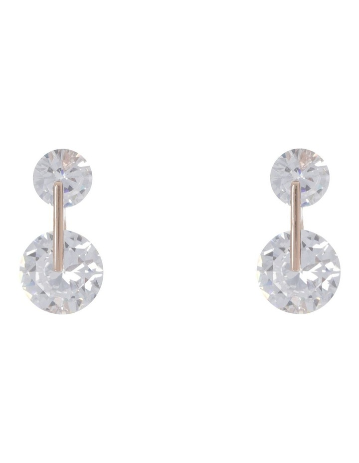 CZ Double Circle Stud Earring Rose/Clear image 1
