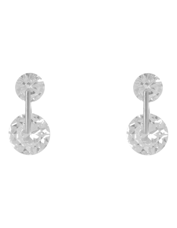 CZ Double Circle Stud Earring Silver/ Black image 1