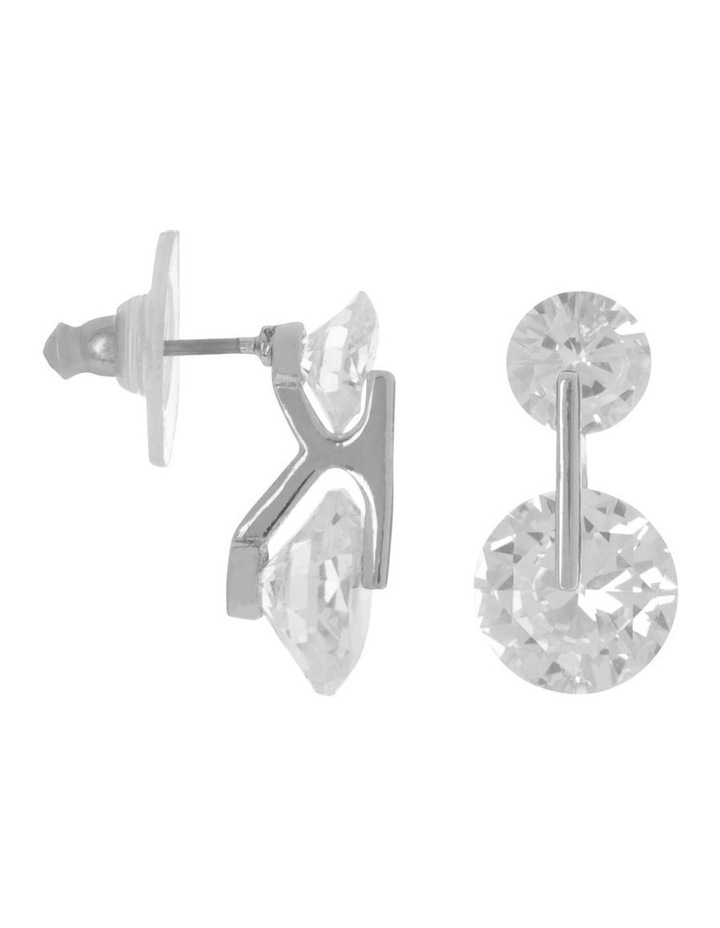 CZ Double Circle Stud Earring Silver/ Black image 2