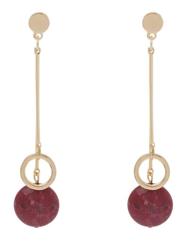 Wine Berry Hoop Drop Stone Earrings image 1